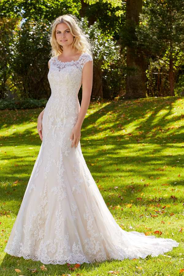 Alençon Lace Appliqués and Scalloped Edging Frosted with Beading on Net Morilee Bridal Wedding Dress Over Soft Satin