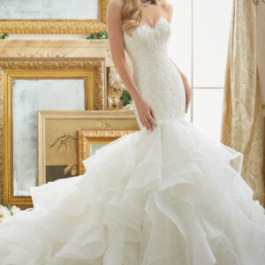 Alencon Lace Meets Flounced Tulle and Organza Mermaid Style Morilee Bridal Wedding Dress