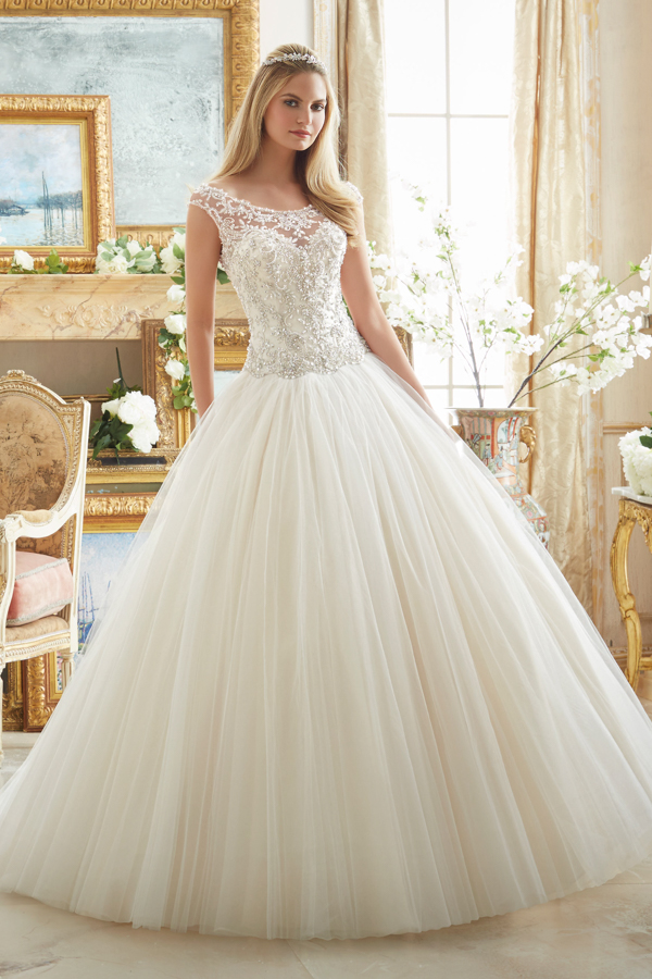 Crystal Beaded Embroidery on Tulle Ball Gown Morilee Bridal Wedding Dress