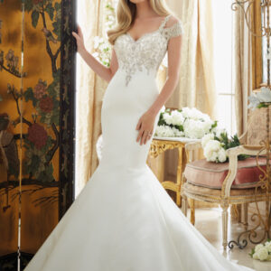Crystallized Embroidery on Duchess Satin Morilee Bridal Wedding Dress