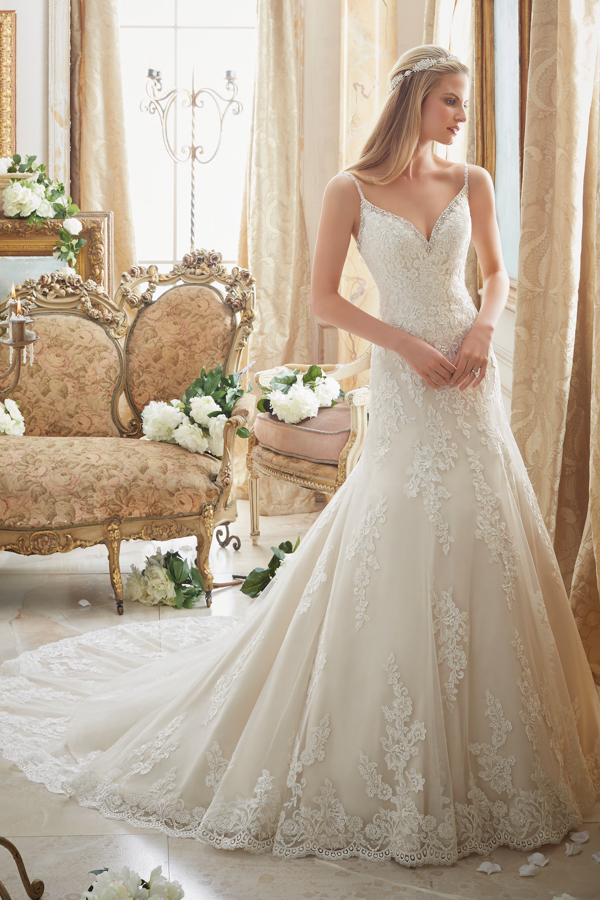 Diamante Beading Trims the Tulle Gown with Embroidered Lace Appliques and Scalloped Hemline Morilee Bridal Wedding Dress