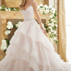 Elaborately Beaded Crystal Straps on a Billowy Tulle Ball Gown Morilee Bridal Wedding Dress