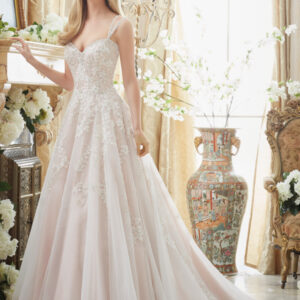 Elaborately Beaded Embroidery on Soft Tulle Ball Gown Morilee Bridal Wedding Dress
