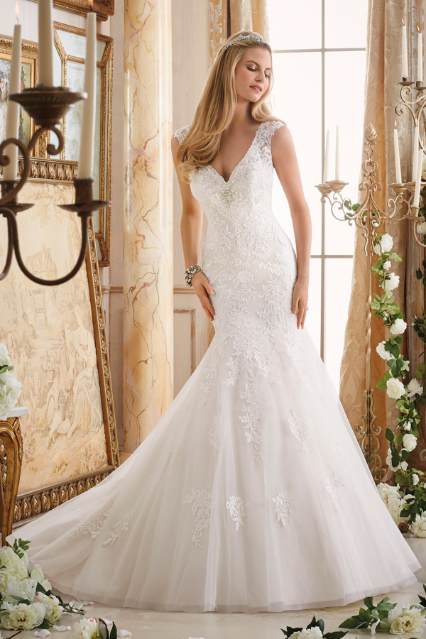 Embroidered Appliques on Tulle Trimmed with Crystal Beading Morilee Bridal Wedding Dress