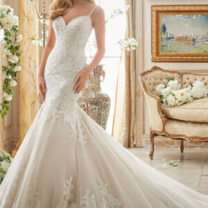 Romantic Alencon Lace Appliques on Tulle with Wide Scalloped Hemline Bridal Wedding Dress