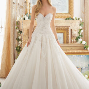 Rose Patterned Embroidery with Crystal Beading on Tulle Ball Gown Morilee Bridal Wedding Dress