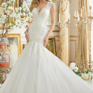 Beautifully Frosted Beading on Embroidered Lace Appliques onto Tulle Morilee Bridal Wedding Dress
