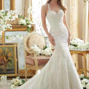 Embroidered Lace on Soft Net with Wide Hemline Morilee Bridal Wedding Dress _